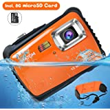 "AIMTOM Kids Underwater Digital Waterproof Camera with 8G microSD Card, 12MP HD Boys Girls Action Camcorder, 2"" Screen Children Birthday Holiday Gift Learn Sports Cam - Floating Wrist Strap (Orange)"