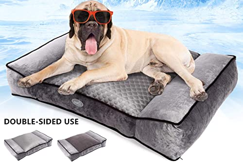 Pecute Large Dog Bed, Warm Plush Cool Silk Double-Sided Pet Bed Four Seasons Available, Orthopedic Shredded Memory Foam Dog Beds, Washable Dog Lounge with Removable Cover