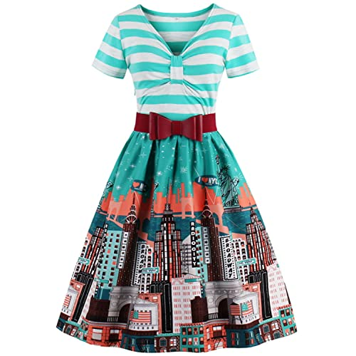 Babyonline Women Vintage Dresses with Sleeves Striped Evening Cocktail Gown