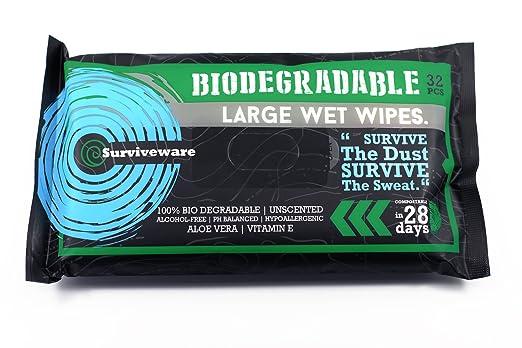 Surviveware Biodegradables para toallitas húmedas sin aclarado baño o la ducha. Ideal para acampar, viajes, limpieza corporal, higiene personal y de ...