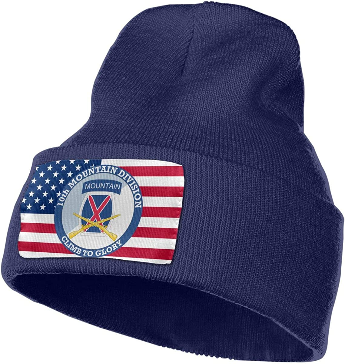 10th Mountain Division with Crossed Rifles Men/&Women Warm Winter Knit Plain Beanie Hat Skull Cap Acrylic Knit Cuff Hat