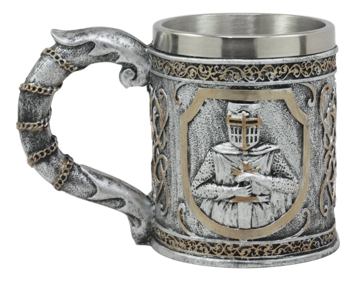 Ebros Medieval Templar Crusader Knight Mug 12oz Suit of Armor Knight Of The Cross Beer Stein Tankard Coffee Cup
