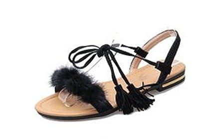 fcb957282 Amazon.com | Perfues Real Fur Ankle Strap Gladiator Sandals Women Flats  Summer Shoes Ladies Wedding Beach Sandals | Sandals