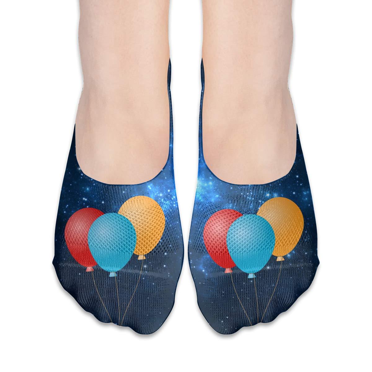 Cartoon Gift Balloons Womens Fashion Thin Casual No Show Socks