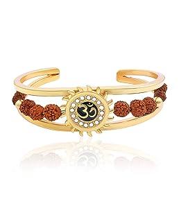 Charms Rudraksh American Diamond Gold Meena Om Sun Cuff Kada Bracelet for Men (Golden)(BR-03E Bracelet)