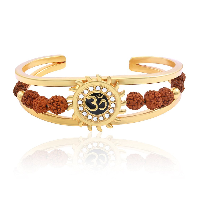 Charms Rudraksh American Diamond Gold Meena Om Sun Cuff Kada Bracelet for Men (Golden)(BR-03E Bracelet) product image
