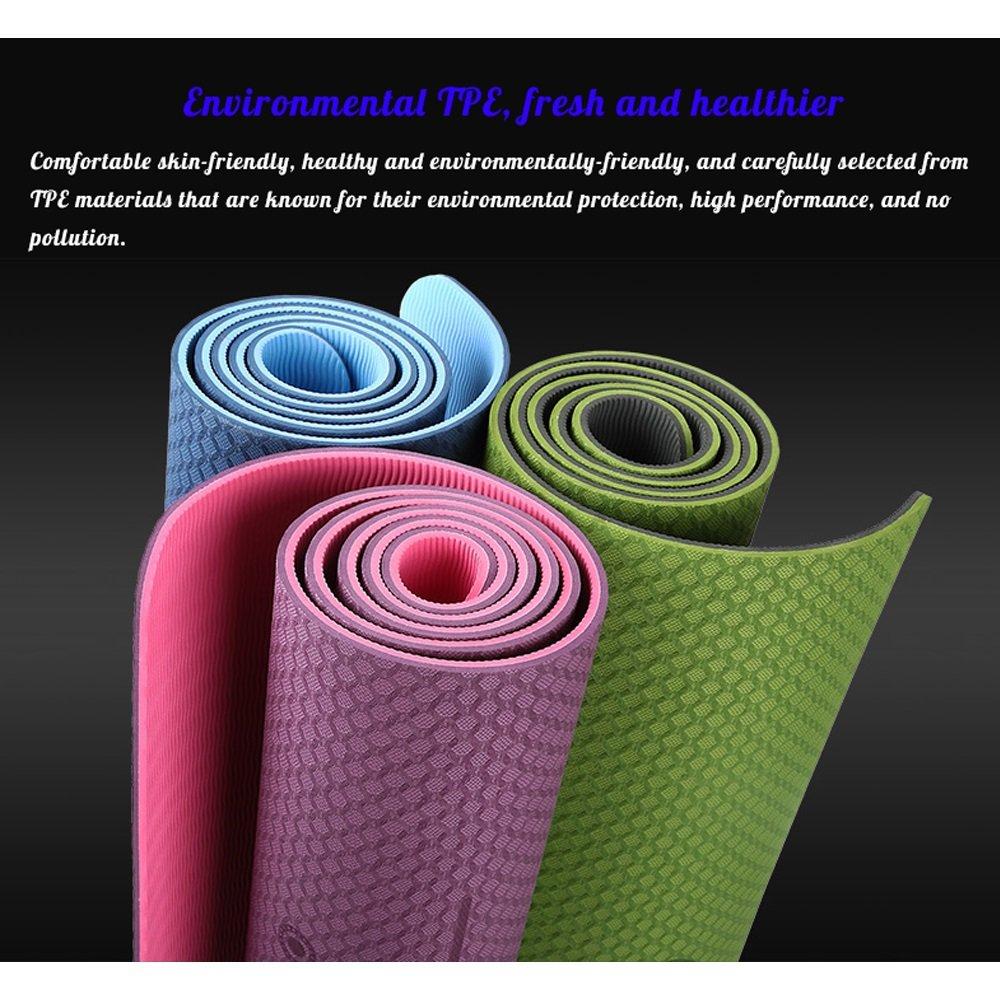 QAR Geruchlose Rutschfeste Anfänger Dünne Yoga Abschnitt Fitness Erweitert Yoga-Matte Yoga Dünne Matte (Farbe   Cyan, größe   0.23in) b1e93e
