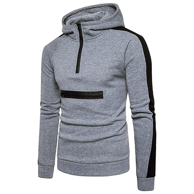 Yanhoo Hombre Autumn Blend Pullover Hoodie Basic Hooded Sweatshirt Zipper Outwear Sudadera con Capucha Deportiva para Hombre Sudadera Hombres Cremallera: ...
