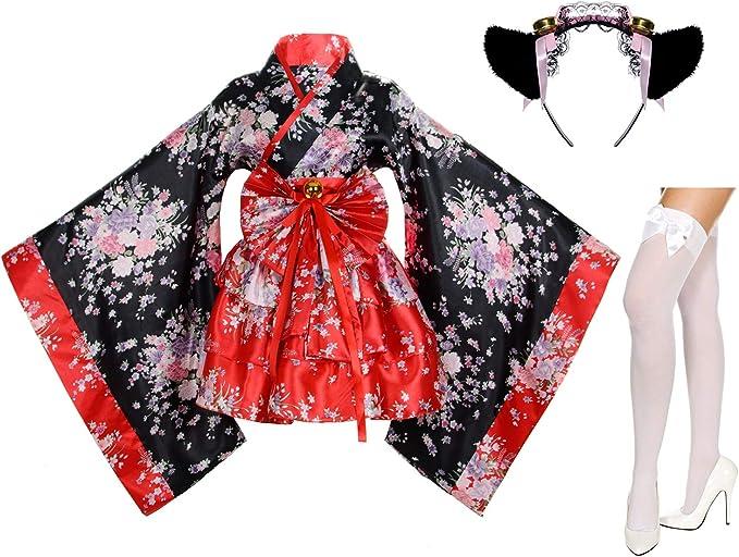 Amazon.com: Disfraz de kimono de cerezo con estampado de ...