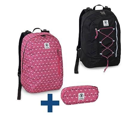 f7220e46be Invicta zaino reversibile 33x44x20cm rosa fenicotteri + astuccio lip pencil  23x10x5,5cm combinazione scuola zaino