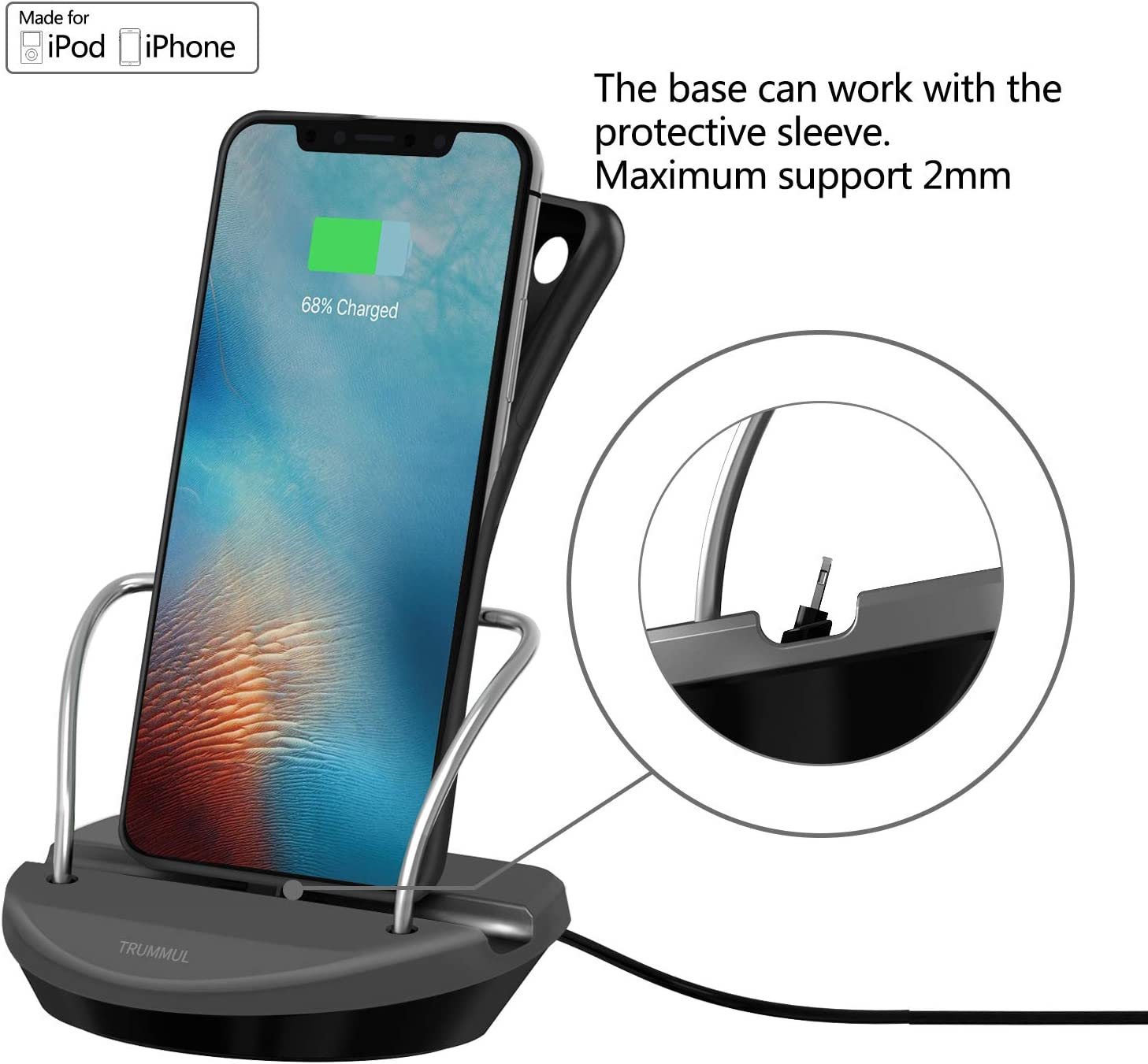 TRUMMUL Office Base Compatible for i-Phone Charger Dock Desktop Charging Stand Station Supports 0-2mm Cases
