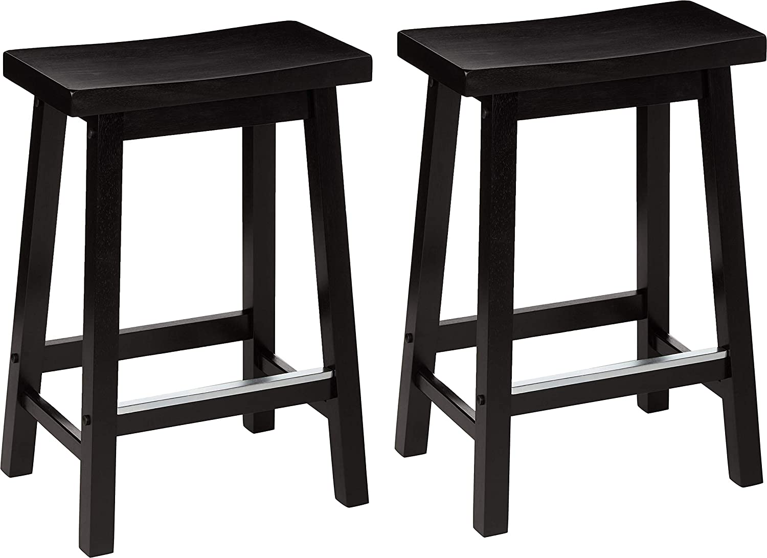AmazonBasics Classic Solid Wood Saddle-Seat Kitchen Counter Stool with Foot Plate 24 Inch, Black, Set of 2