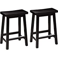 AmazonBasics Classic Solid Wood Saddle-Seat Counter Stool with Foot Plate