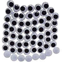 Asian Hobby Crafts Googly Moving Eyes - Design 5, Black/White (200 Pieces, 15mm)