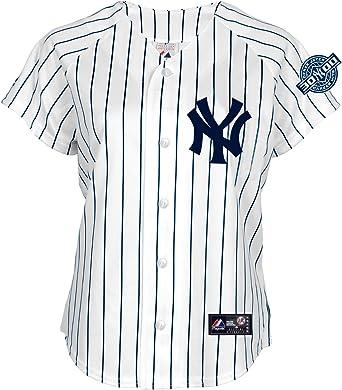 Majestic MLB New York Yankees Derek Jeter 5 Botones de Manga Corta réplica Camiseta con 3.000 Hits Parche de la Mujer, Mujer, White/Navy Pinstripes: Amazon.es: Ropa y accesorios