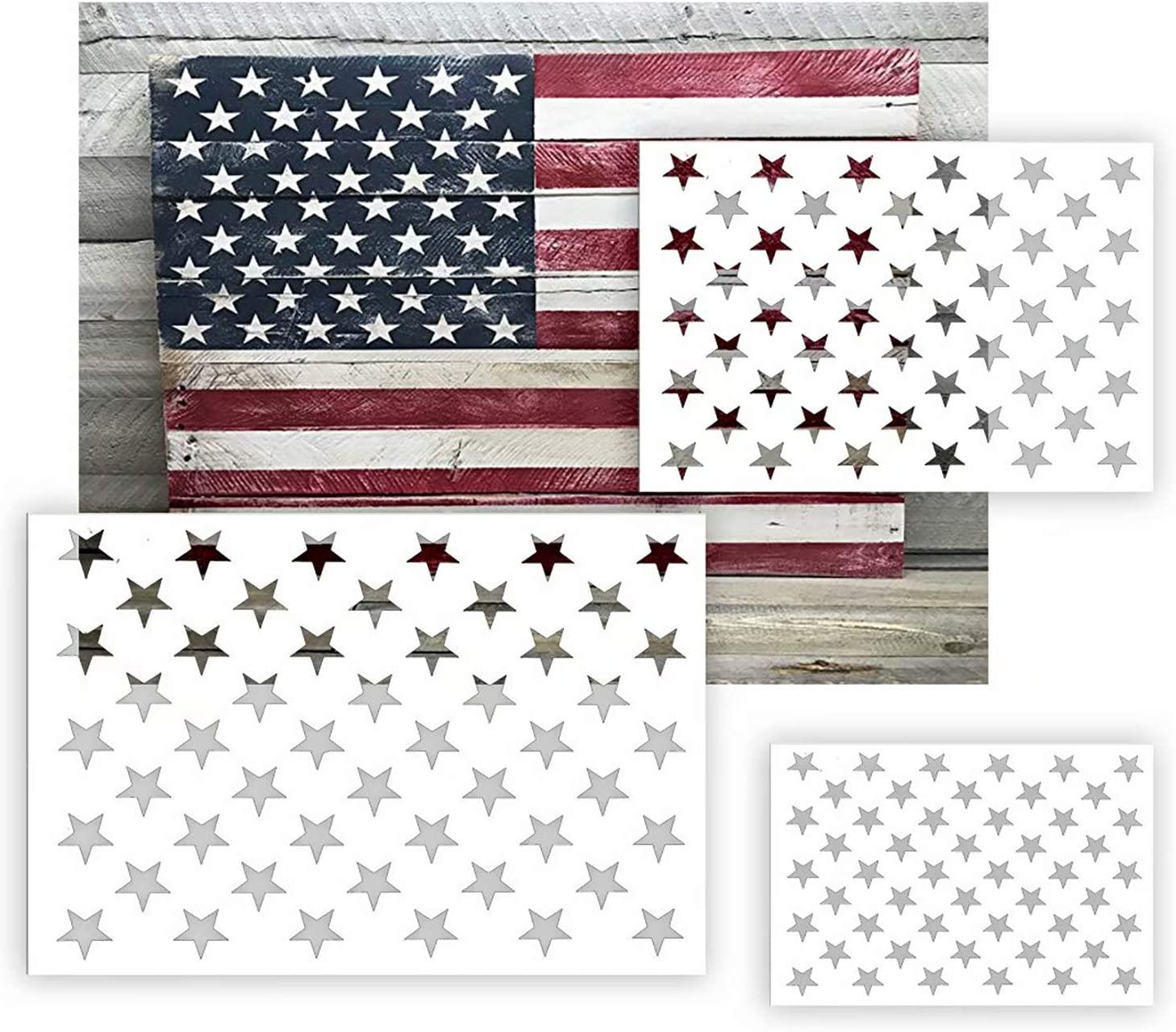 American Flag 50 Star Stencil Template for Painting on Wood, Fabric, Paper, Airbrush, Glass and Wall Art, Reusable Starfield Stencil 6 Pack(3 Sizes)