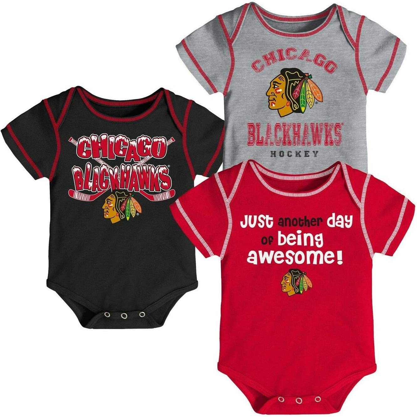 Outerstuff NHL Newborn Infants Awesome Player 3 Piece Creeper Bodysuit Set