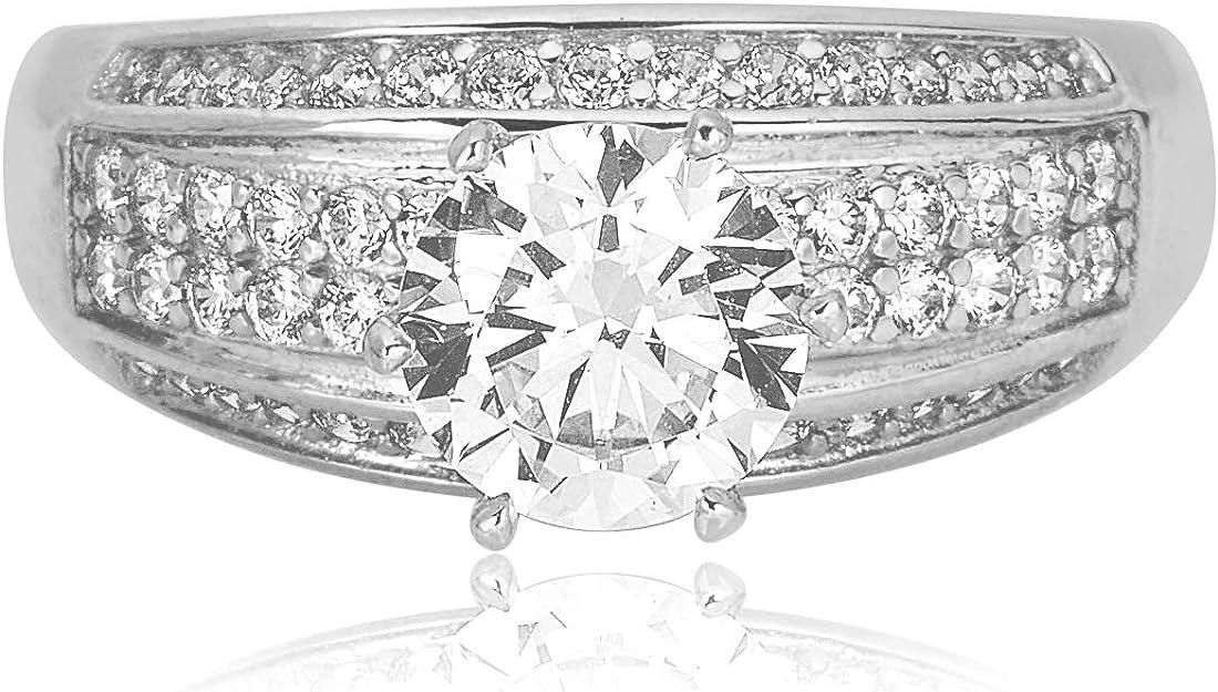 10k or 14k Yellow Gold White CZ Sparkling Design Ladies Wedding Anniversary Ring
