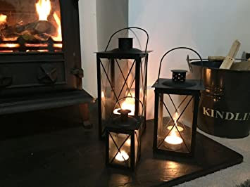 Cavendish Candle Lanterns (Set Of 3)   Black