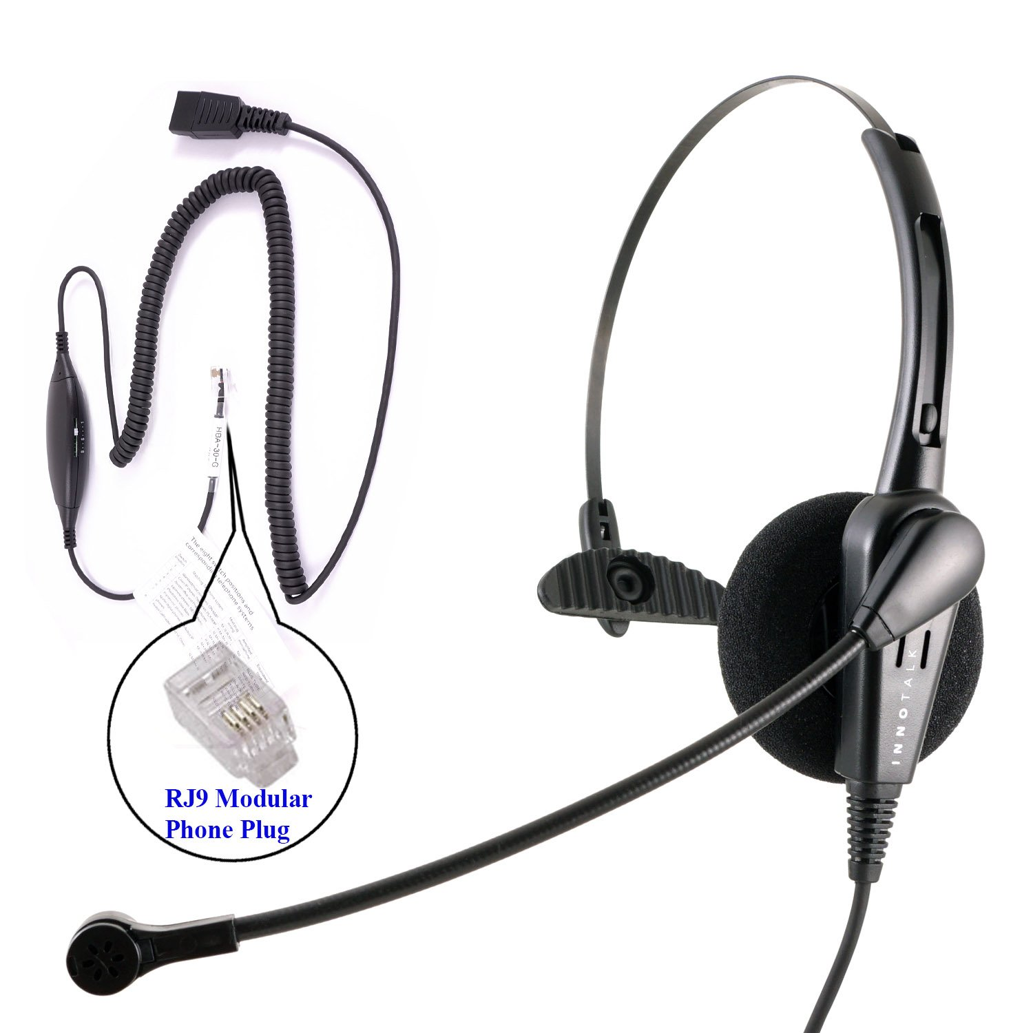 RJ9 Headset - Cost Effective Pro Monaural Headset + Virtual Compatibility RJ9 Cord applicable for Cisco Avaya Panasonic