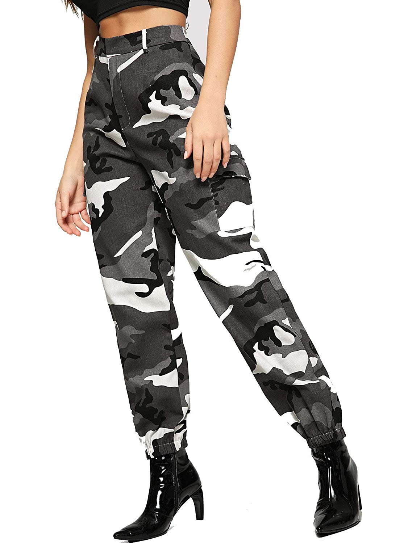 Camo Large Romwe Women's Workout Jogger Pants High Waist Lightweight Hiking Outdoor Sweatpants
