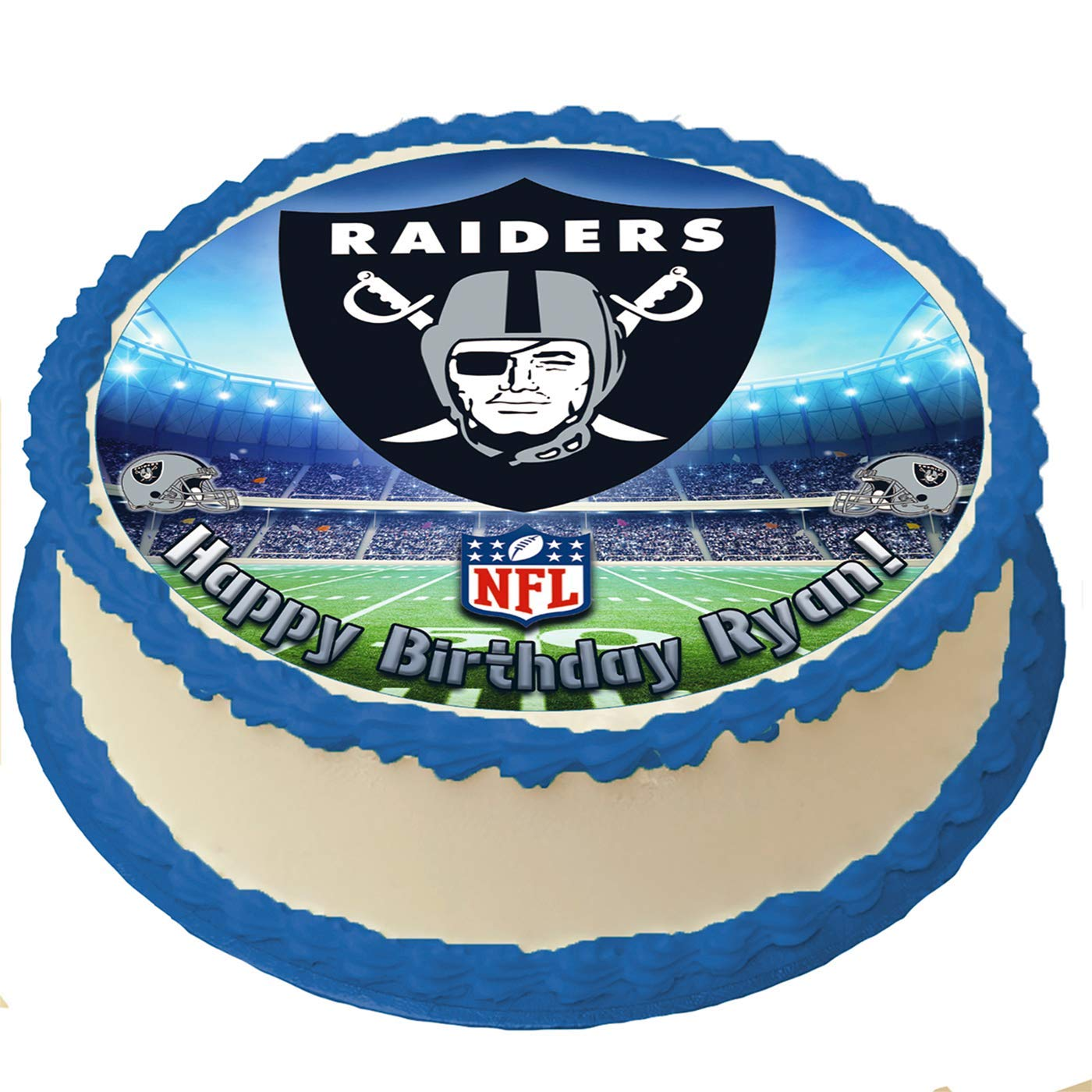 Oakland Raiders Nfl Personalized Cake Topper Icing Sugar Paper 8 Inches Round Sheet Edible Frosting Photo Birthday Cake Topper Amazon Com Grocery Gourmet Food