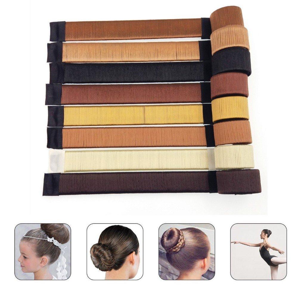 JZK 8 couleurs super facile ensemble de fabricant de chignon torsader les cheveux cheveux de fabricant de beignet bande élastique pour chignon pour femmes les enfants filles accessoire de coiffure