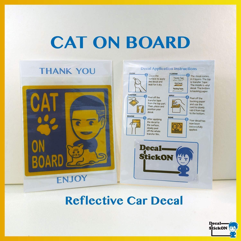 Cat On Board Sticker Cat On Board Reflective Car Decal