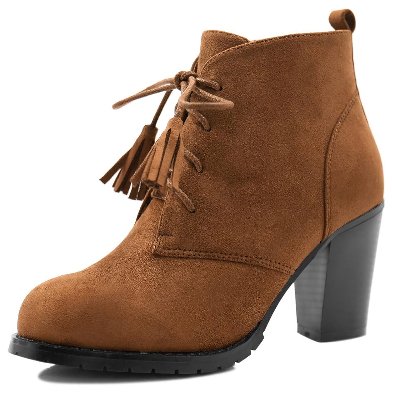 Allegra K Women Rounded Toe Block Heel Tassel Lace-Up Ankle Booties