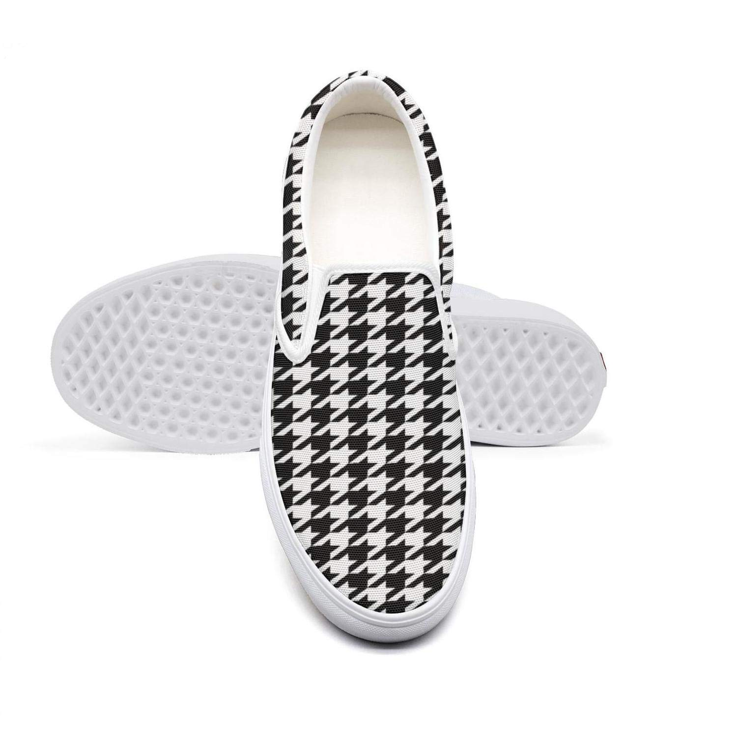 eredfs Plaid Printing Houndstooth Black and White College Student Flat Bottom Comfortable Tennis Shoes by eredfs