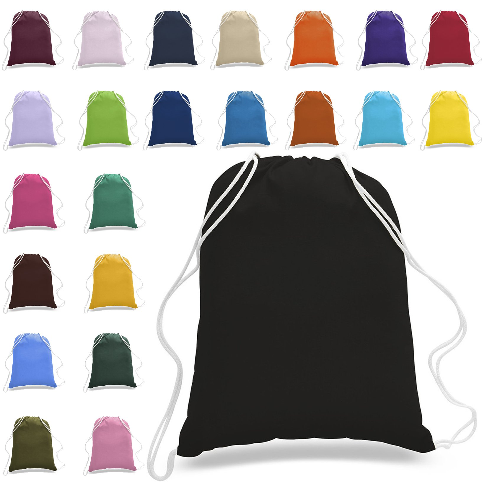1 Dozen - (12 Pack) - Assorted Colors - 100% Cotton Quality Drawstring Bags - Large Drawstring Backpack Sackpack - Men & Women Sport Gym Sack Drawstring Backpack Bag - Art and Craft Bag (Mix-Assorted)