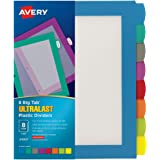 Avery 8-Tab Ultralast Plastic Binder Dividers, Multicolor Big Tabs, 1 Set (24901)