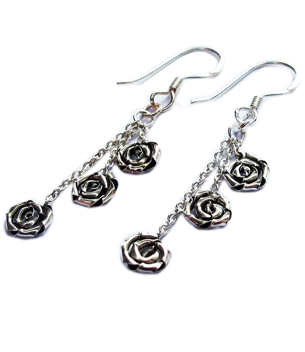 Cool THAI STERLING ROSE FLOWER EARRING WEIGHT 1.06 G BEAUTIFUL By Handmade { STERLING EARRING/_Box925/_Box6/_1033 } SIZE 10X40 MM
