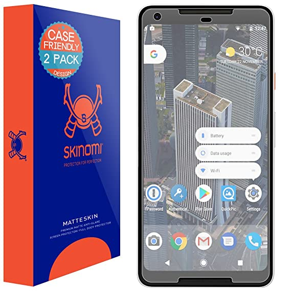 huge selection of cae5c e4d9d Google Pixel 2 XL Screen Protector (Case Friendly)[2-Pack], Skinomi  MatteSkin Full Coverage Screen Protector for Google Pixel 2 XL Anti-Glare  and ...