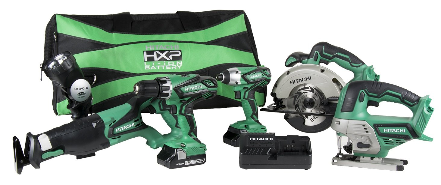 Hitachi KC18DG6LPA 18V Cordless Combo Kit 6 Piece