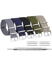 ZHUGE Unisex nylon cinturino orologio multicolor Balistico Cinturino Nato Cinturino in Nylon 5 pezzi in tinta unita