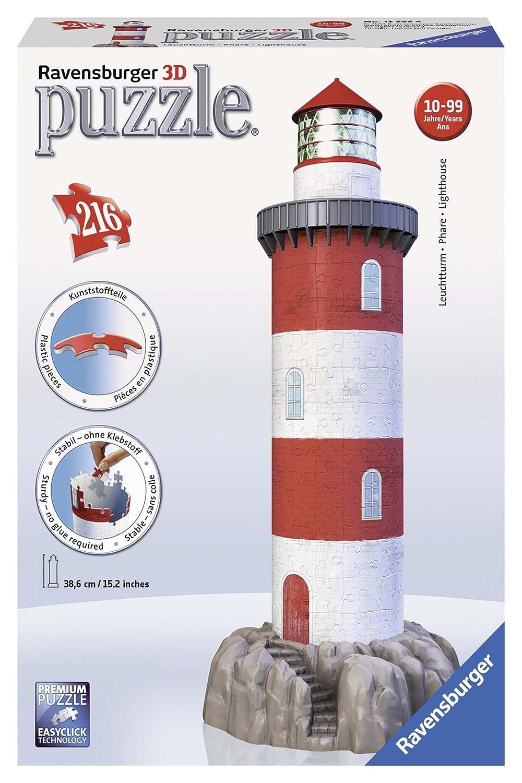 Ravensburger 12565 - Leuchtturm in der Brandung, 216 Teile 3D Puzzle-Bauwerke Ravensburger Spielverlag Architektur