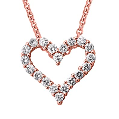 Amazon igi certified 14k rose gold heart diamond pendant igi certified 14k rose gold heart diamond pendant necklace 14 carat aloadofball Image collections