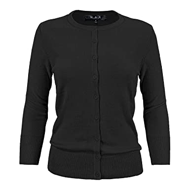 2f145d239e1 YEMAK Women s 3 4 Sleeve Crewneck Button Down Knit Cardigan Sweater  CO079-BLK-