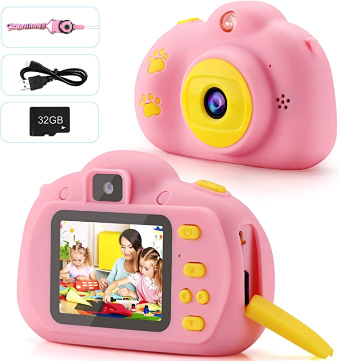 Kids Camera 1080p Fhd Digital Video 8mp Camera 2 Inch Ips Screen Selfie Toddler Camera With 32gb Sd Card Rechargeable Children Camera Birthday Christmas New Year Toy Gifts For 3 10 Year Old Amazon Ca Camera Photo