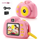 Kids Camera 1080P FHD Digital Video 8MP Camera 2-inch IPS Screen Selfie Toddler Camera with 32GB SD Card Rechargeable…