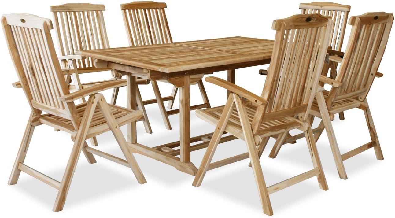KMH®, Teak Gartensitzgruppe mit ausziehbarem Gartentisch für 6 Personen (#102206)