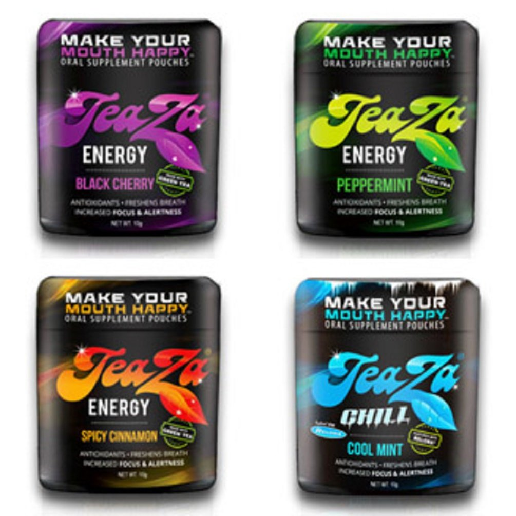 Teaza Variety Peppermint, Black Cherry and Spicy Cinnamon, and Caffeine-free Cool Mint Chill 4 Pack
