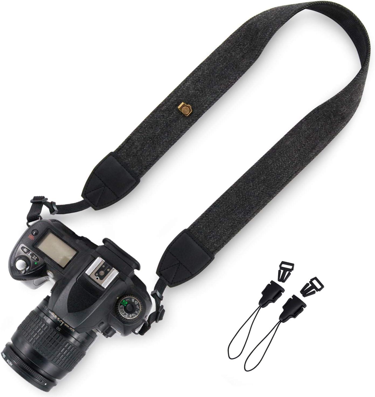Wolven DSLR/SLR Camera Neck Shoulder Belt Strap Compatible for All DSLR/SLR/Digital Camera (DC)/Instant Camera/Polaroid etc (Black)