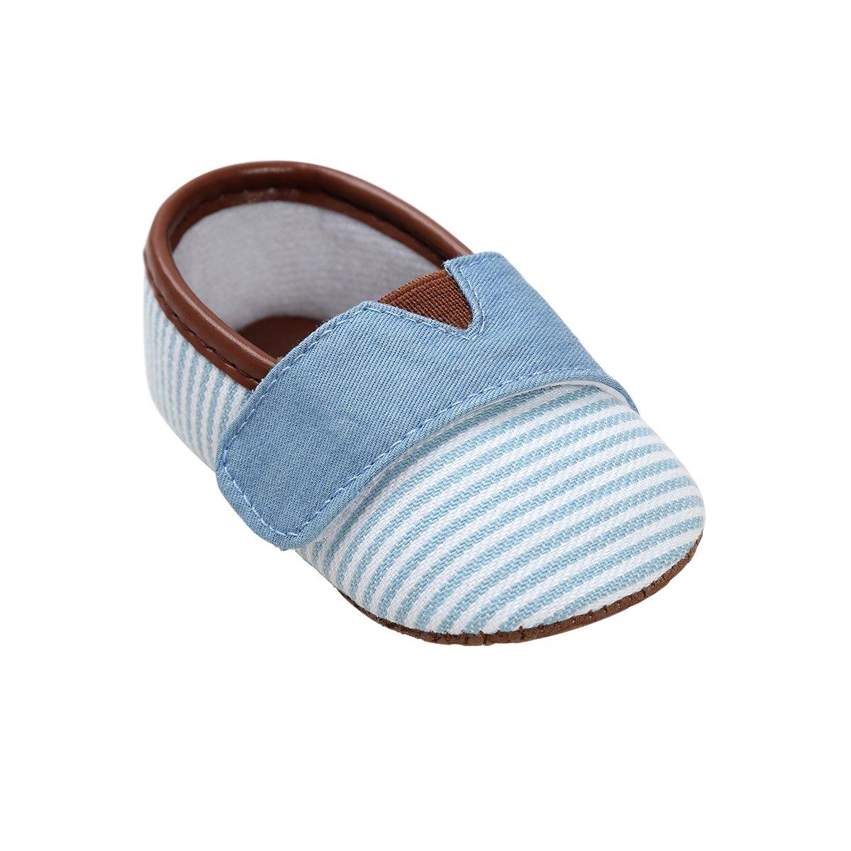Kuner Infant Baby Boys Girls Canvas Stripe Moccasins Soft Sole Anti-Slip Prewalker Toddler Shoes (12cm(6-12months), Sky Blue)