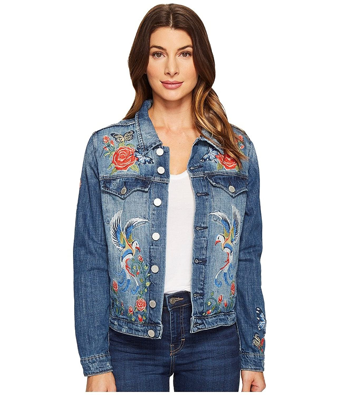 Blank NYC Womens Denim Embroidered Jacket in Wild Child