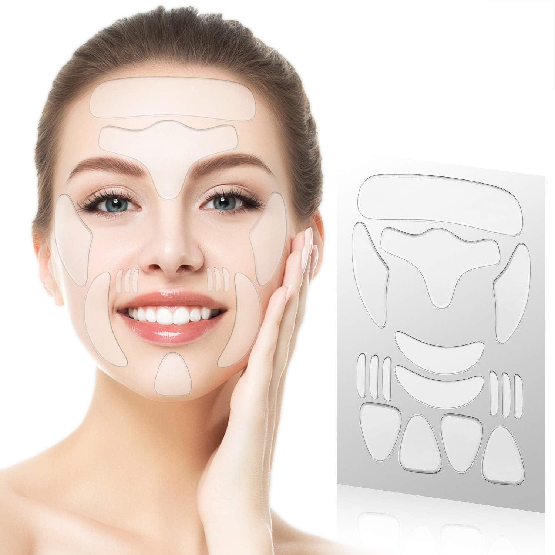 16PCS Parches Faciales para Arrugas, Tiras para Eliminar Arrugas Faciales, Almohadillas Faciales de Silicona Antiarrugas Reutilizables, que Reducen y suavizan las arrugas