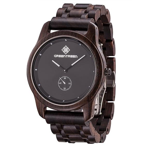 Reloj de madera Greentreen hecho a mano, para hombre, color negro: Amazon.es: Relojes