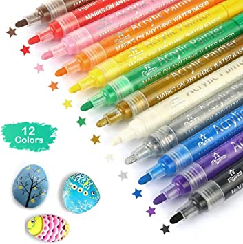 Acrylic Marker Pens for Rocks Painting Fabric Ceramic Glass Canvas, Wood