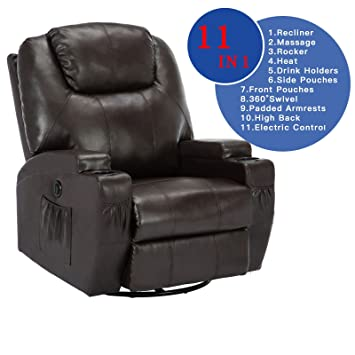 Uenjoy Electric Massage Chair Recliner Sofa Body Ergonomic Swivel Heated  (Brown, Unadjustable Back Cushion